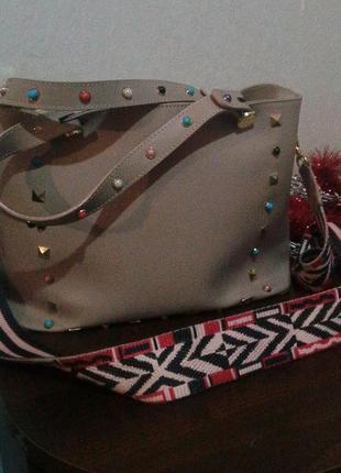 Кожаная сумка с длинным цветным ремнем   cenuine leather