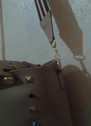 Кожаная сумка с длинным цветным ремнем   cenuine leather2
