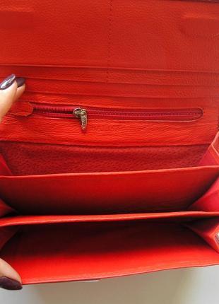 Большой кожаный кошелек красная роза, 100% натуральная кожа, есть доставка бесплатно3