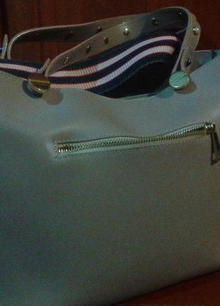 Кожаная сумка с длинным цветным ремнем   cenuine leather3