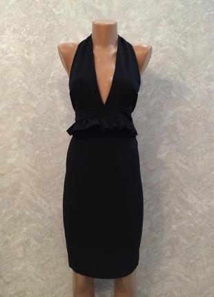Платье из плотной ткани с открытой спиной и рюшей размер 10-12
