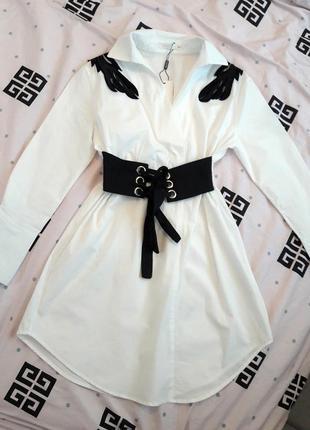 Хлопковое платье с корсетом