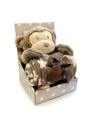 Новый комплект: двухсторонняя одеяло и мягкая игрушка обезьянка, stm-07