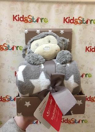 Новый комплект: двухсторонняя одеяло и мягкая игрушка обезьянка, stm-073
