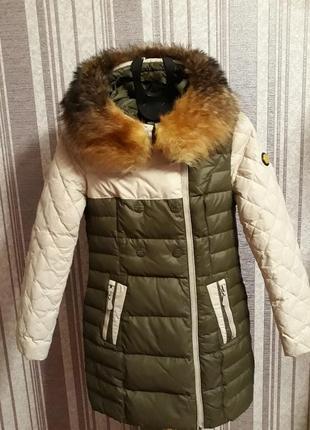 Зимний пуховик-пальто  с натуральным мехом енота!