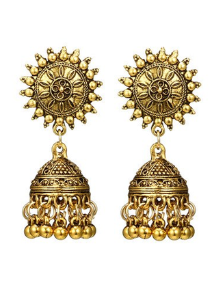 Шикарные индийские серьги солнце с куполом бохо этно стиль цвет золото