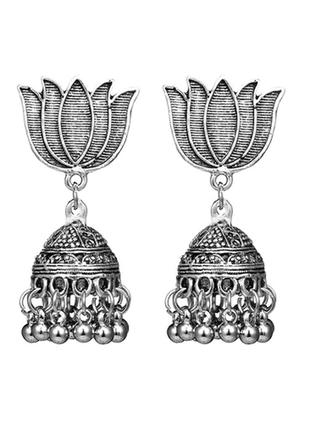 Шикарные индийские серьги лотос с куполом бохо этно стиль цвет серебро