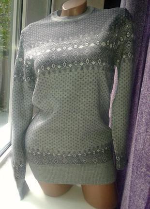 Теплый свитер, джемпер натуральная шерсть.