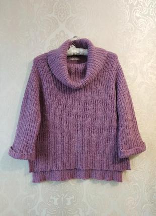 Акция скидки теплый сиренево-розовый свитер с широким воротником от tu в составе мохер
