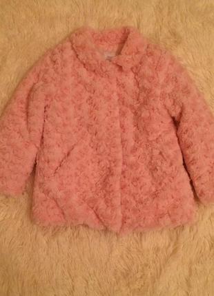Шуба шубка для девочки розовая 104 см1