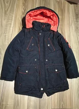 Зимняя удлиненная теплая куртка, наполнитель синтепон р.116-122