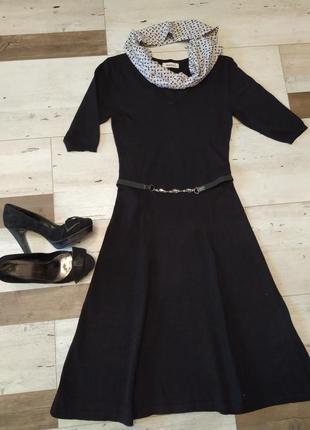 Мягенькое трикотажное черное платье. фирма yessica. размер 34-36 xs-s.
