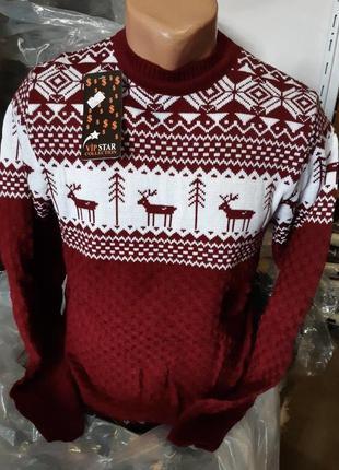 Шикарный вязаный свитер с оленями ! оч стильный и теплый.м,л,хл.