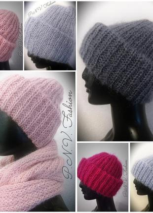Распродажа зимние шапки мохер теплая шапка объемная