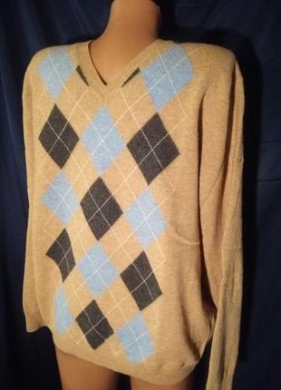 Бомбезный свитер джемпер в ромбы 💯%шерсть burlington