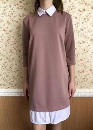 Модное платье-рубашка грязно-розового цвета
