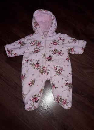 Демисезон комбинезон для девочки в цветки бренд adams baby велюровый 50-56 см 0 2 месяца