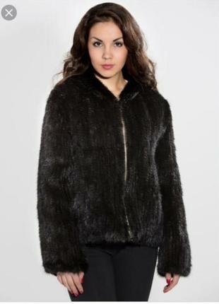 Модная вязаная норочка, полушубок куртка норковая