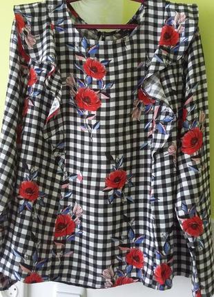 Блуза в клетку с воланами от new look