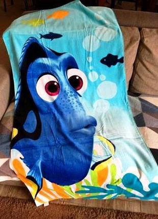 Большое пляжное полотенце disney рыбка дори детское, 100 хлопок 75х150 см