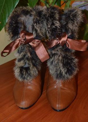 Елегантні чобітки-ботильйони з натуральним хутром