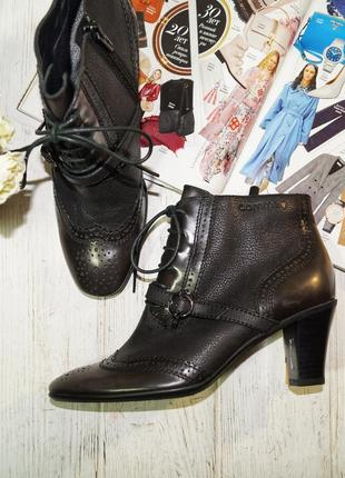 (37/24см) comma кожа безупречные ботинки, полусапожки на удобном каблуке1 фото
