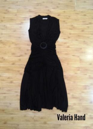 Необычное черное сексуальное платье миди - вискоза saint tropez - размер 42-44