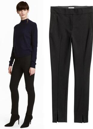 Черные стрейчевые брюки в обтяжку h&m xs-s