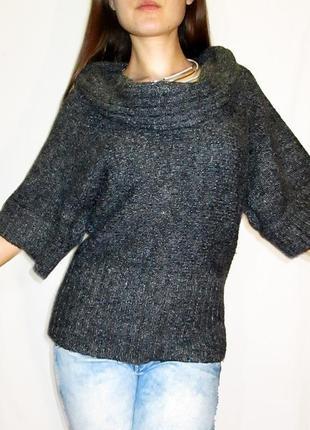 New look! меланжевый мохеровый свитер с фрэнч рукавами