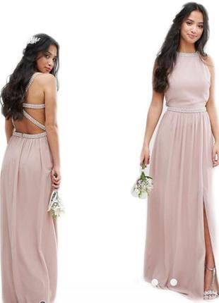 🔥скидки🔥новое шикарное вечернее нежно розовое платье макси в пол длинное asos