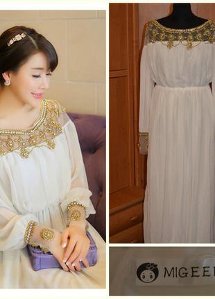 Нарядное длинное белое шифоновое платье migeer в греческом стиле размер:s