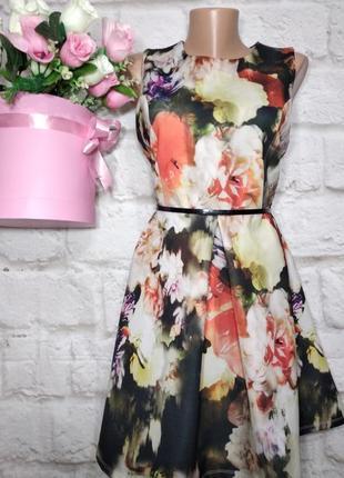 Платье миди пышная юбка р 16