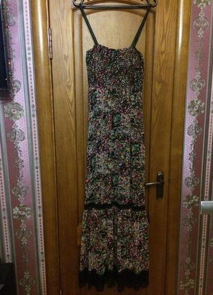 Платье сарафан шифоновый летнее легкое в пол без рукавов длинное макси сукня довга літня