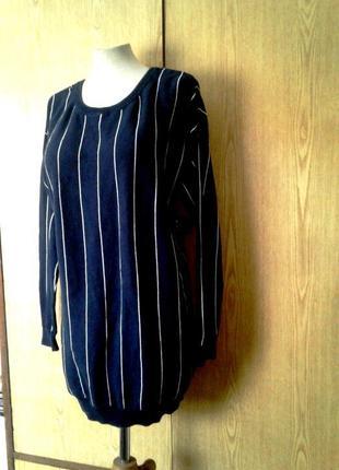 Синее катоновое трикотажное платье- туника, xl-2xl.