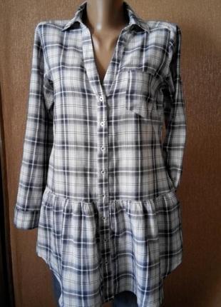 Рубашка туника с боковыми карманами,воланом по низу размер 10 atmosphere