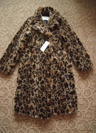 Шуба zara м леопард искусственный мех теплая длинная