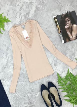 Качественная блуза для базового гардероба с отделкой из гипюра  bl1852133 h&m
