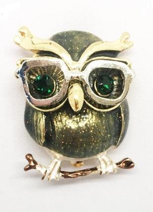 Очень красивая стильная брошь сова в очках птица птичка брошка