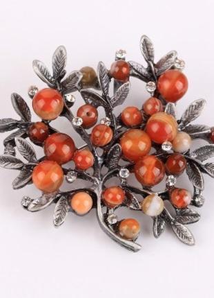 Очень красивая стильная брошь с натуральными камнями куст дерево брошка
