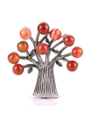 Очень красивая стильная брошь дерево с натуральными камнями брошка кулон подвеска