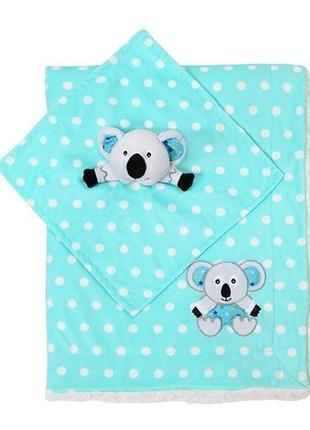 Новое одеяльце двухстороннее «minky» с первой игрушкой-обнимашкой мятная, 1412/031