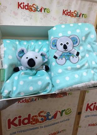Новое одеяльце двухстороннее «minky» с первой игрушкой-обнимашкой мятная, 1412/034