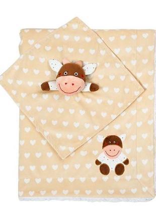 Новое одеяльце двухстороннее «minky» с первой игрушкой-обнимашкой бежевая, 1412/04