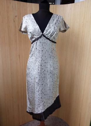 Шелковое платье в горошек  ассиметрия