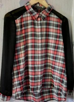 Рубашка в клетку с прозрачными рукавами