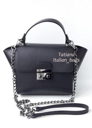 Итальянская кожаная сумка satchel, стильный мини-портфельчик. черная
