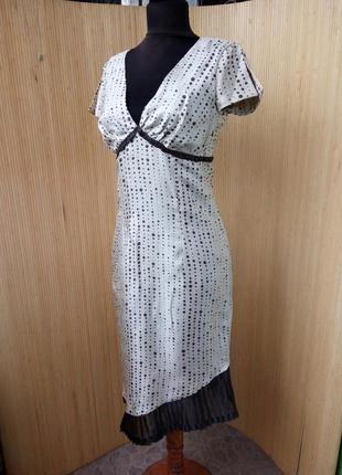 Шелковое платье в горошек  ассиметрия2