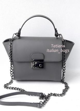 Итальянская кожаная сумка satchel, стильный мини-портфельчик. серая