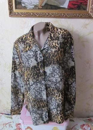 Леопардовая  блузка большого размера
