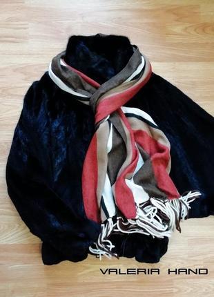 Супер мягкий качественный уютный шарф в полоску - италия